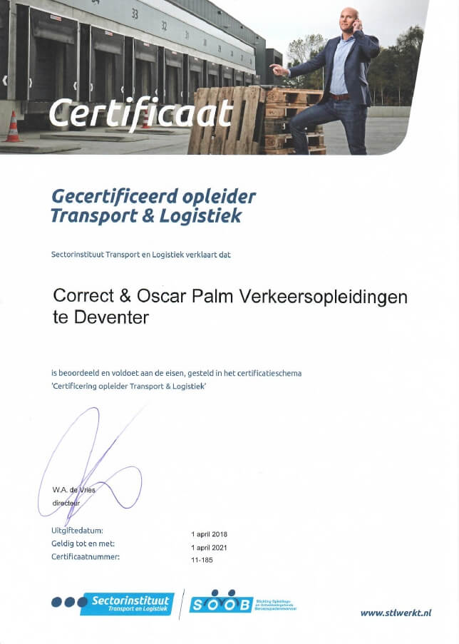 Certificering opleider Transport & Logistiek Oscar Palm